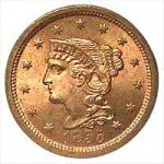 Young Head Coronet Cent 1839-1857