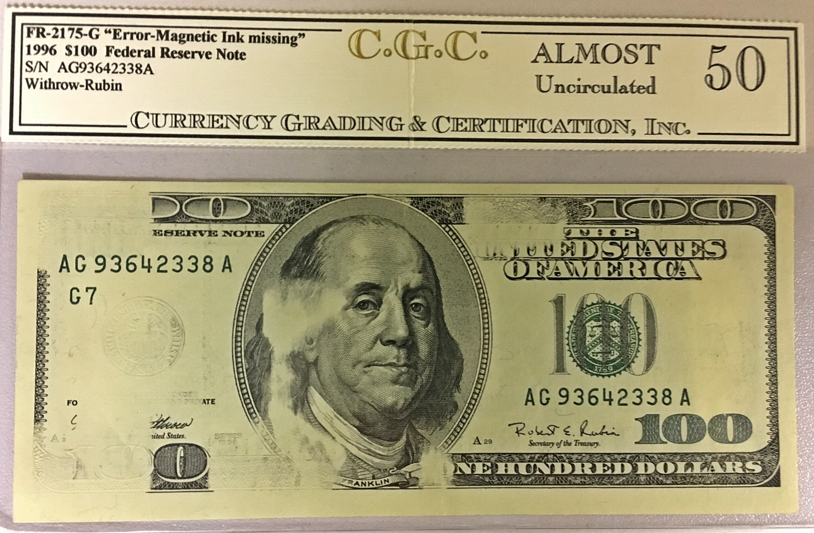 Frn 100 100 Federal Reserve Note 100 Dollar Small Size