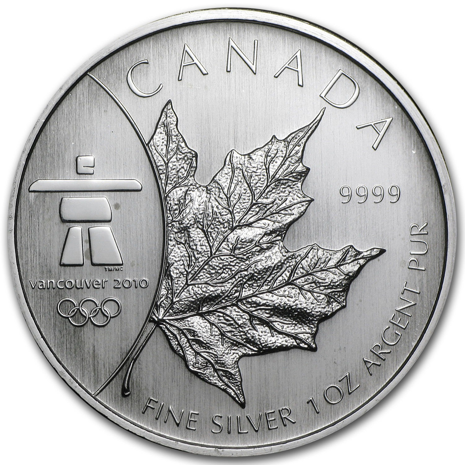 Canadian Maple Leaf, $5.00 Silver Coin