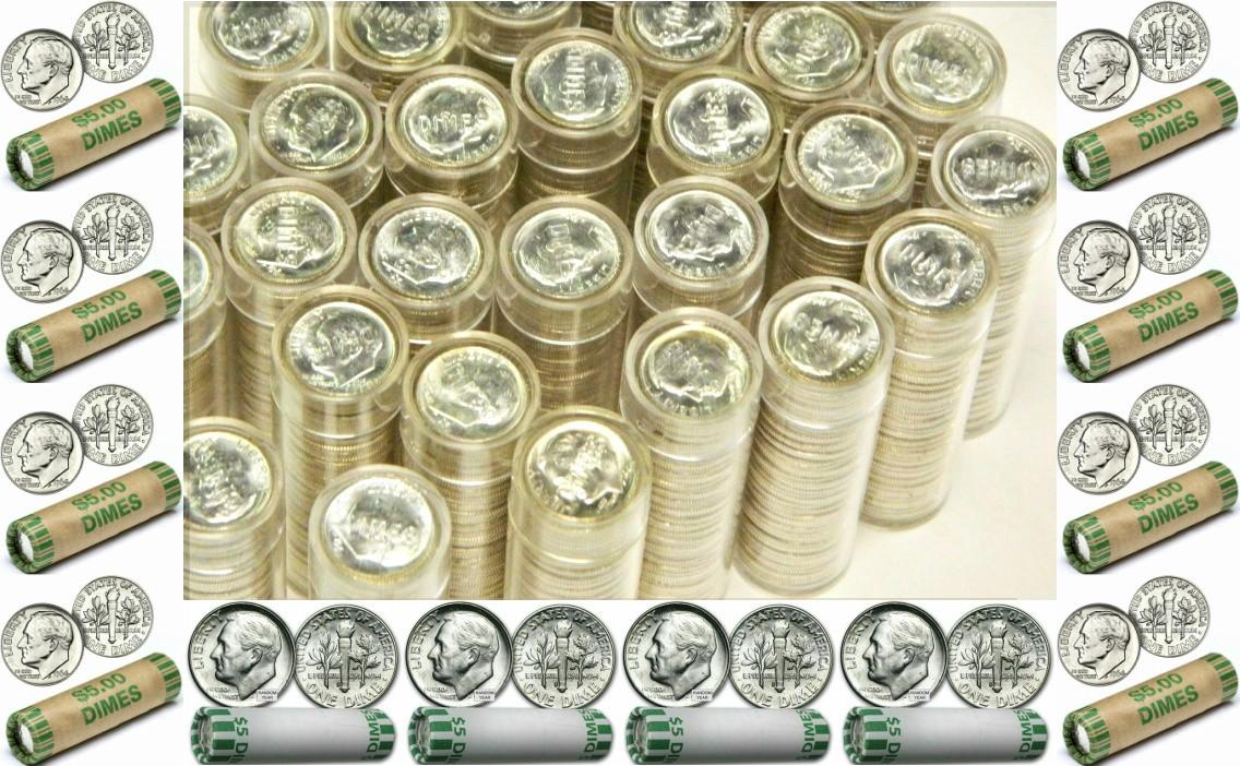 Roosevelt Dime, 5 BU Rolls Common Date Silver
